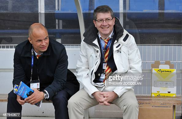 President of Perpignan's rugby club Francois Riviere and Perpignan's General Manager Sylvain Deroeux look on prior to the French Rugby Union match...