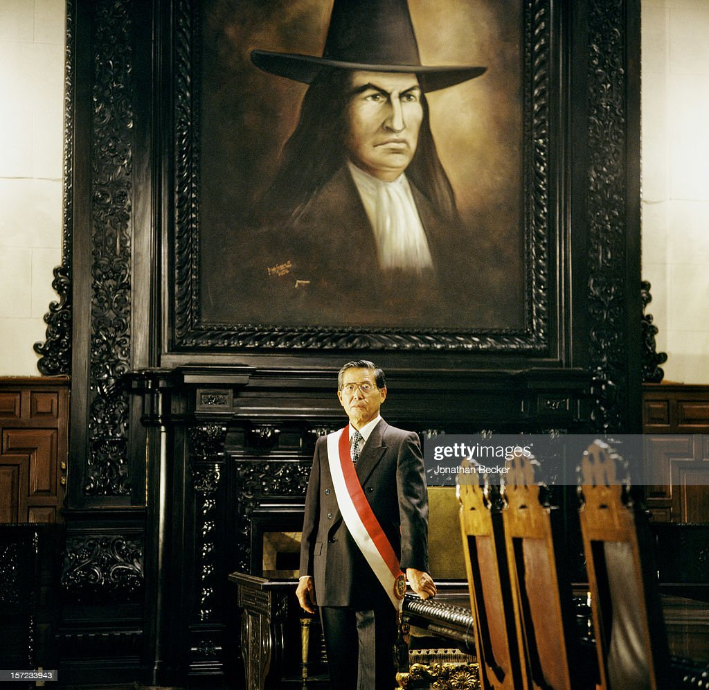 President of Peru, <a gi-track='captionPersonalityLinkClicked' href=/galleries/search?phrase=Alberto+Fujimori&family=editorial&specificpeople=206244 ng-click='$event.stopPropagation()'>Alberto Fujimori</a> is photographed for Vanity Fair Magazine on May 8, 1997 at the Government Palace in Lima, Peru. PUBLISHED