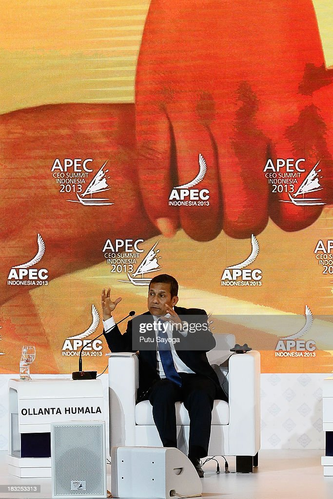 President of Peru Ollanta Humala speaks during a discussion panel with business leaders during the APEC CEO summit on October 6, 2013 in Nusa Dua, Indonesia.