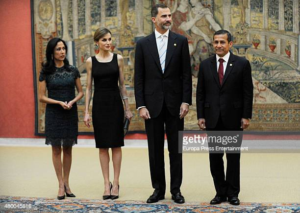 President of Peru Ollanta Humala Tasso and his wife Nadine Heredia Alarcon offer a reception for King Felipe of Spain and Queen Letizia of Spain on...