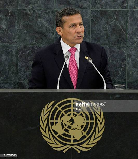 President of Peru Ollanta Humala Tasso speaks during the 68th Session of the United Nations General Assembly on September 25 2013 in New York City...