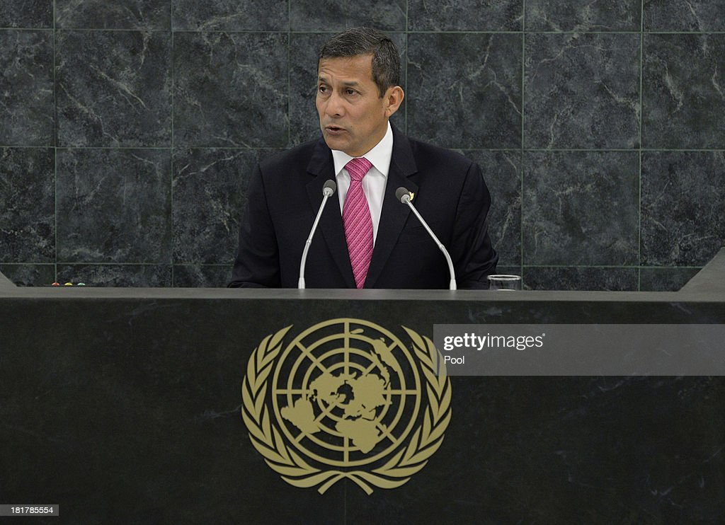President of Peru <a gi-track='captionPersonalityLinkClicked' href=/galleries/search?phrase=Ollanta+Humala&family=editorial&specificpeople=588227 ng-click='$event.stopPropagation()'>Ollanta Humala</a> Tasso speaks during the 68th Session of the United Nations General Assembly on September 25, 2013 in New York City. Over 120 prime ministers, presidents and monarchs are gathering this week for the annual meeting at the temporary General Assembly Hall at the U.N. headquarters while the General Assembly Building is closed for renovations.