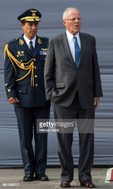 President of Peru Pedro Pablo Kuczynski looks on prior the arrival of President of Ecuador Lenin Moreno as part of an official visit at Palacio de...
