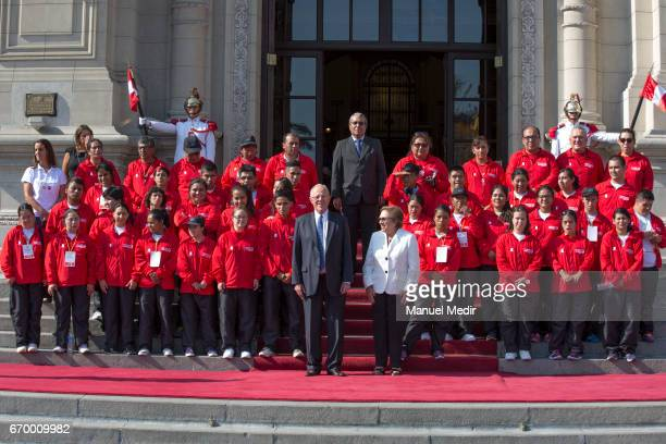 President of Peru Pedro Pablo Kuczynski receives the Delegation of 33 Peruvian Athletes with intellectual disabilities that will participate in the...