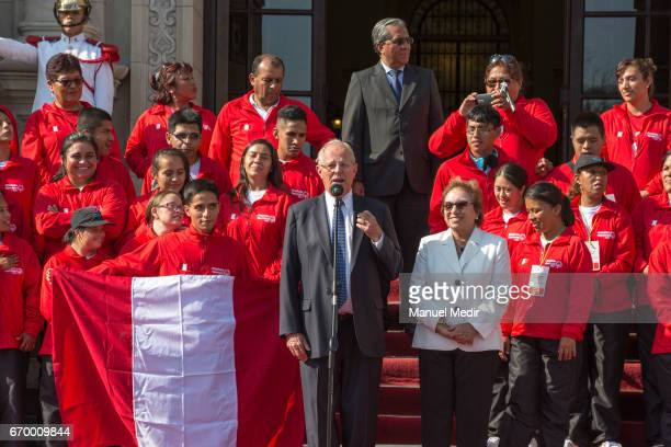 President of Peru Pedro Pablo Kuczynski speaks to the Delegation of 33 Peruvian Athletes with intellectual disabilities that will participate in the...