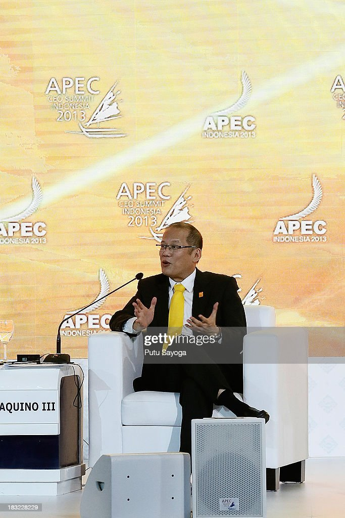 President of Philipines, Benigno Aquino III talks at a panel discussion with business leaders during the APEC CEO Summit on October 6, 2013 in Nusa Dua, Indonesia.