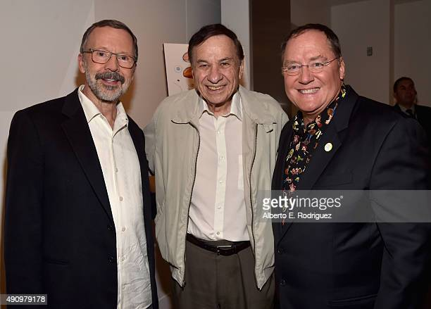 President of Pixar Animation Studios Disney Animation Studios Ed Catmull composer Richard Sherman and CEO of Pixar Animation Studios Disney Animation...