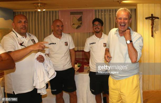 President of Plaermo Maurizio Zamparini arrives at the hotel during training session camp on July 12 2017 in Bad Kleinkirchheim Austria
