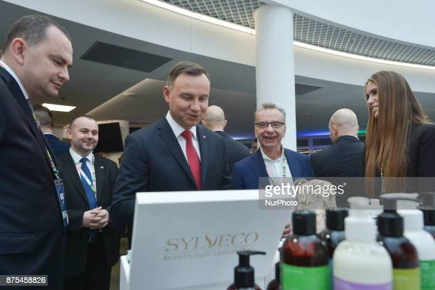 President of Poland Andrzej Duda accompanied by Adam Kwiatkowski and Pawel Mucha visit stands of different companies present at Congress 590 in the...
