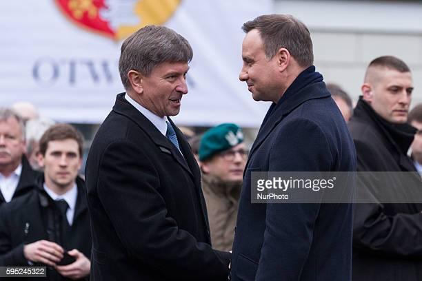 President of Poland Andrzej Duda and Mayor of Otwock Zbigniew Szczepaniak during a visit of President in Otwock on 08 March 2016 in Otwock Poland