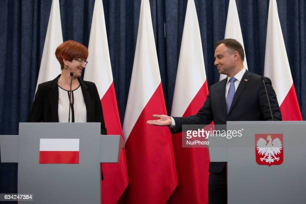 President of Poland Andrzej Duda and Polish minister of family labour and social policy Elzbieta Rafalska during the press conference at Presidential...