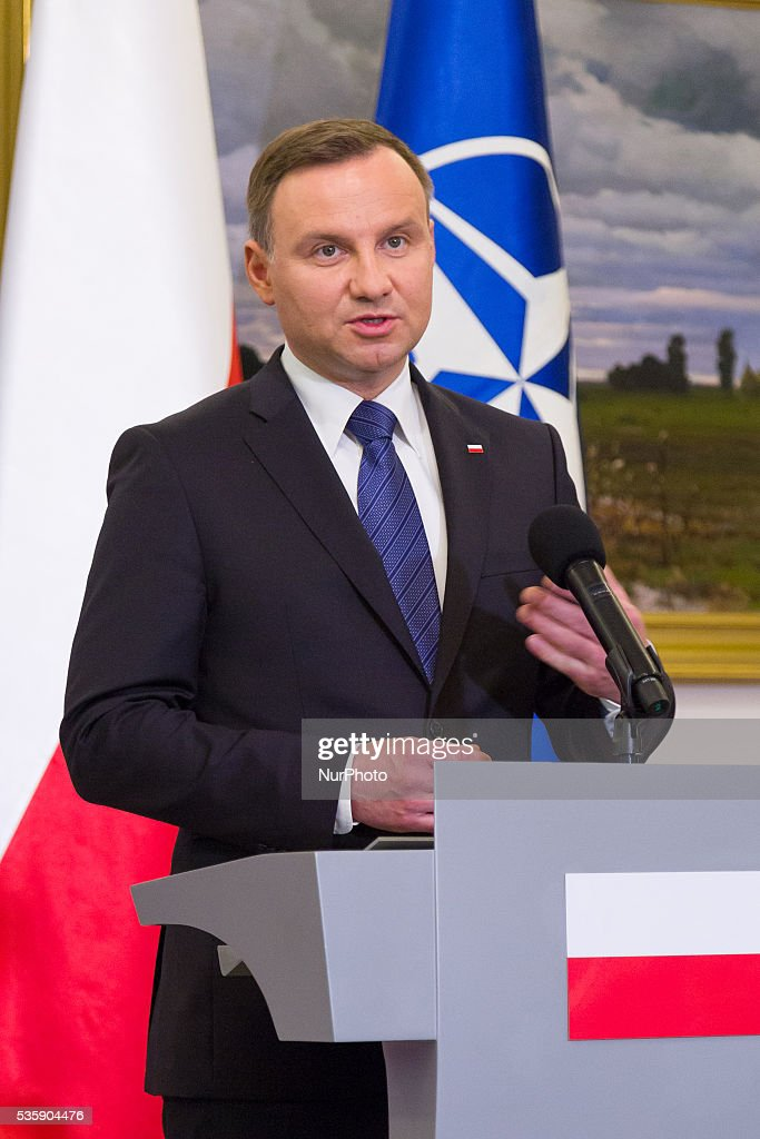 President of Poland, <a gi-track='captionPersonalityLinkClicked' href=/galleries/search?phrase=Andrzej+Duda&family=editorial&specificpeople=4331018 ng-click='$event.stopPropagation()'>Andrzej Duda</a> during a press conference with Secretary General of NATO, Jens Stoltenberg at the Belweder Palace on 30 May 2016 in Warsaw, Poland.