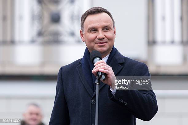 President of Poland Andrzej Duda during speeches in Otwock city park on 08 March 2016 in Otwock Poland