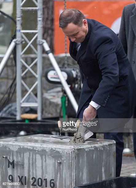 President of Poland Andrzej Duda during the Foundation Stone Laying Ceremony forJozef Pilsudski museum inSulejowek Poland on 9 November 2016