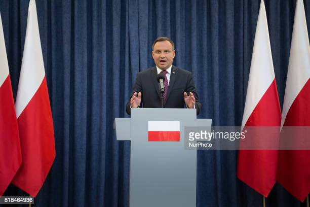 President of Poland Andrzej Duda during the statement about changes in the judicial law and Supreme Court at Presidential Palace in Warsaw Poland on...