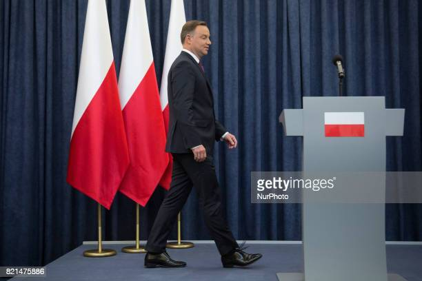 President of Poland Andrzej Duda during the statement about Supreme Court bill at Presidential Palace in Warsaw Poland on 18 July 2017