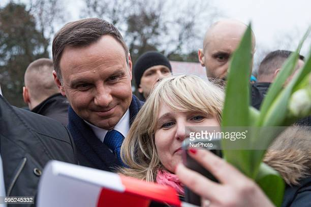 President of Poland Andrzej Duda during the Women's Day on 08 March 2016 in Otwock Poland