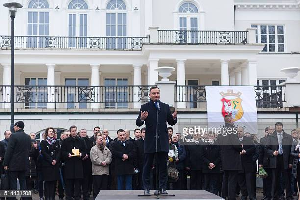 PARK OTWOCK MASOVIAN POLAND President of Poland Andrzej Duda gestures during his speech on his visit in Otwock