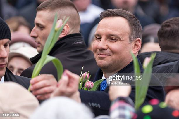PARK OTWOCK MASOVIAN POLAND President of Poland Andrzej Duda hands flowers to women during the Women's Day