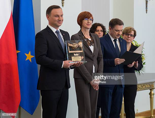 President of Poland Andrzej Duda Minister Elzbieta Rafalska and Chairmen of 'Solidarity' Piotr Duda presented 'EmployeeFriendly Employer'...