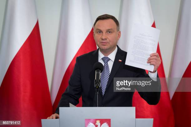 President of Poland Andrzej Duda speaks during the press conference about Polish judicary system reforms at Presidential Palace in Warsaw Poland on...