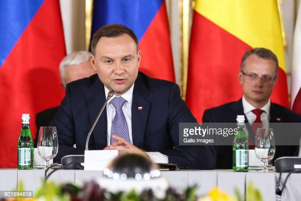 President of Poland Andrzej Duda take part in the plenary session of the summit about transport infrastructure and energy on July 06 2017 at The...