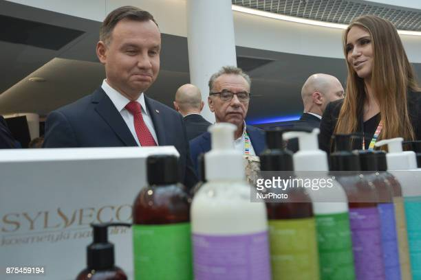 President of Poland Andrzej Duda visits stands of different companies present at Congress 590 in the new Exhibition and Congress Centre in...