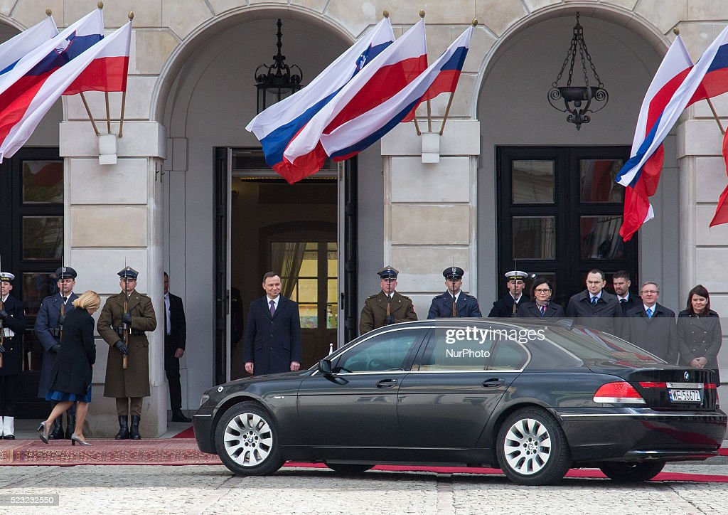President of Poland Andrzej Duda welcomed President of Slovenia Borut Pahor at Presidential Palace in Warsaw Poland 22 April 2016