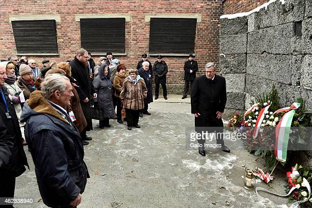 President of Poland Bronislaw Komorowski and the Survivors laying wreaths at the Wall of Death during the 70th anniversary of the liberation of the...