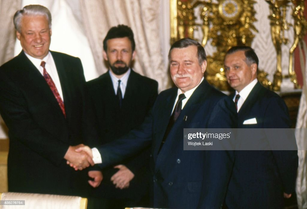 President of Poland Lech Walesa's visit to Russia. Meeting with the Russian President Boris Yeltsin. Moscow, Russia, on 22th May 1992.
