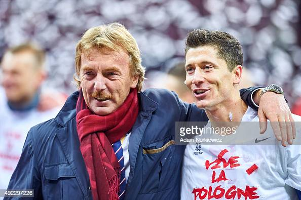 President of Polish Football Association Zbigniew Boniek and Robert Lewandowski of Poland celebrate after the UEFA EURO 2016 qualifying match between...