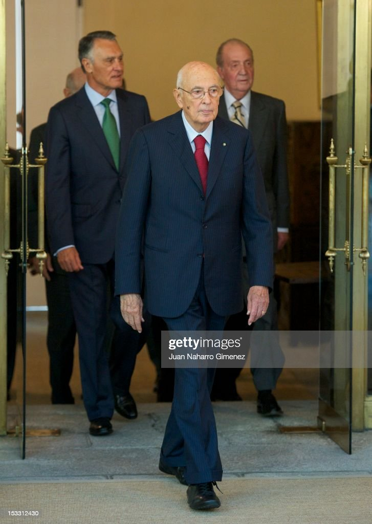 President of Portugal <a gi-track='captionPersonalityLinkClicked' href=/galleries/search?phrase=Anibal+Cavaco+Silva&family=editorial&specificpeople=577282 ng-click='$event.stopPropagation()'>Anibal Cavaco Silva</a>, President of Italy <a gi-track='captionPersonalityLinkClicked' href=/galleries/search?phrase=Giorgio+Napolitano&family=editorial&specificpeople=568986 ng-click='$event.stopPropagation()'>Giorgio Napolitano</a> and King Juan Carlos of Spain attend COTEC Europa Meeting 2012 at Royal Palace of El Pardo on October 3, 2012 in Madrid, Spain.