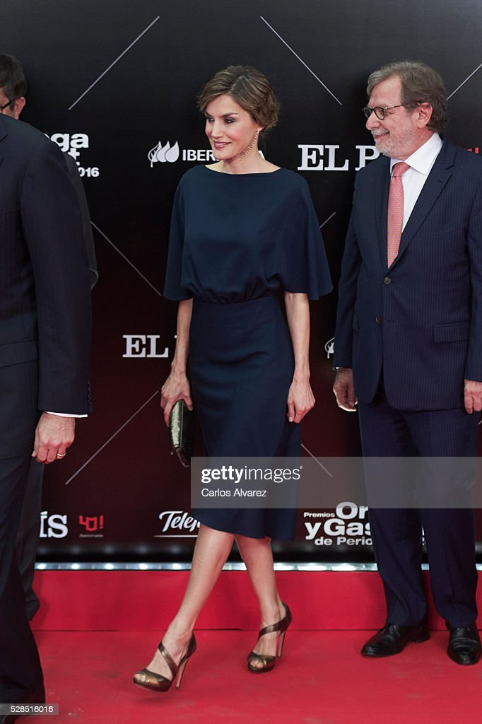 President of PRISA group Juan Luis Cebrian (R) and Queen Letizia of Spain (L) attend 'Ortega Y Gasset' journalism awards 2016 at Palacio de Cibeles on May 05, 2016 in Madrid, Spain.