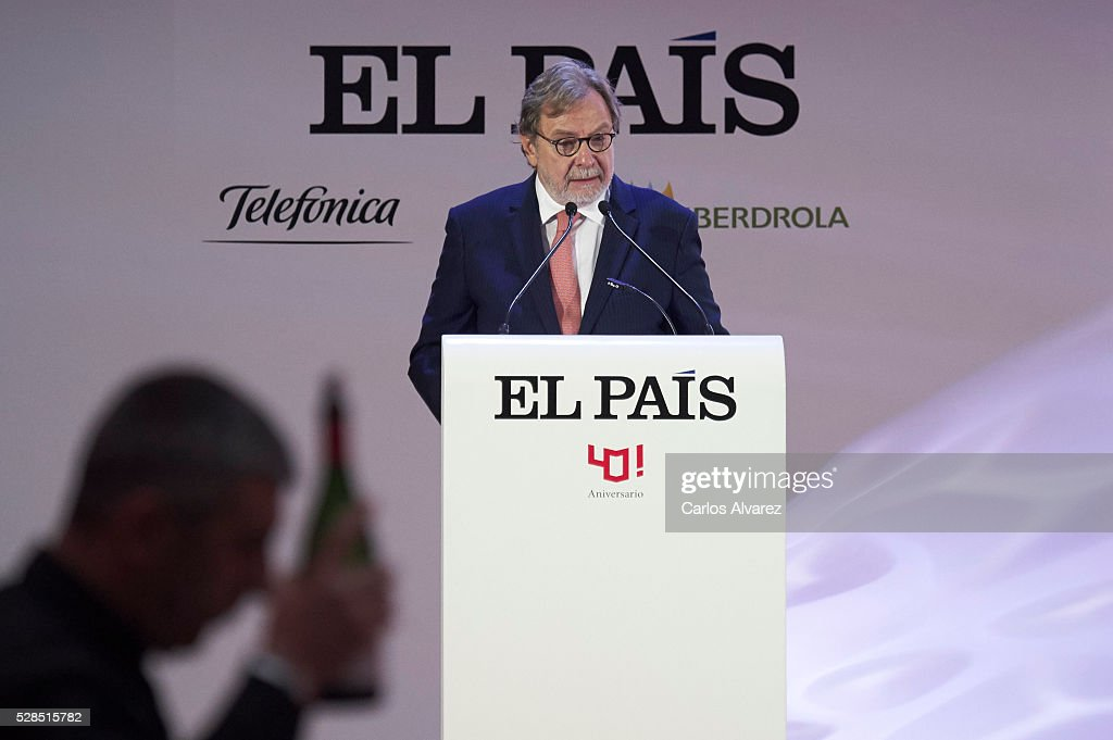 President of PRISA group Juan Luis Cebrian attends 'Ortega Y Gasset' journalism awards 2016 at Palacio de Cibeles on May 05, 2016 in Madrid, .