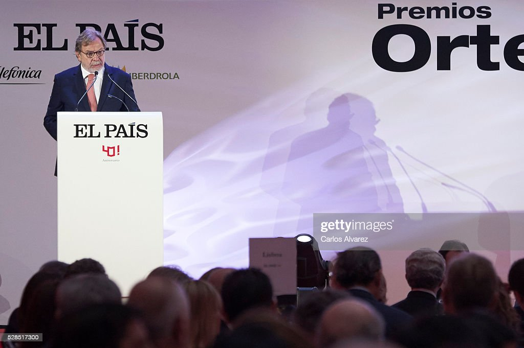 President of PRISA group Juan Luis Cebrian attends 'Ortega Y Gasset' journalism awards 2016 at Palacio de Cibeles on May 05, 2016 in Madrid, Spain.