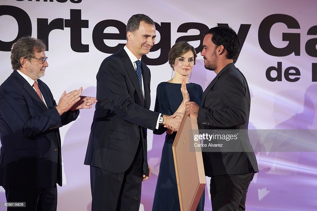 President of PRISA group Juan Luis Cebrian, King Felipe VI of Spain and Queen Letizia of Spain attend 'Ortega Y Gasset' journalism awards 2016 at Palacio de Cibeles on May 05, 2016 in Madrid, .
