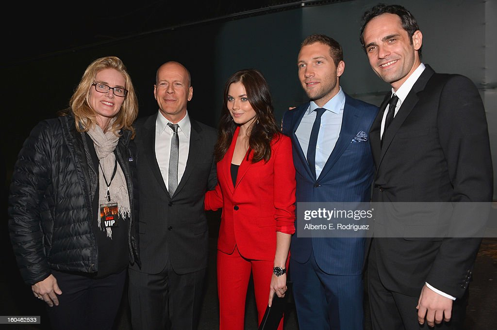 President of Production for 20th Century Fox Emma Watts, actors Bruce Willis, Julia Snigir, Jai Courtney and Rasha Bukvic attend the dedication and unveiling of a new soundstage mural celebrating 25 years of 'Die Hard' at Fox Studio Lot on January 31, 2013 in Century City, California.