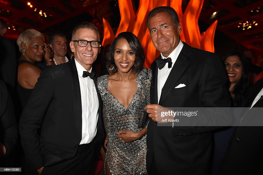 HBO President of Programming Michael Lombardo actress Kerry Washington and Chairman and CEO of HBO Richard Plepler attend HBO's Official 2015 Emmy...