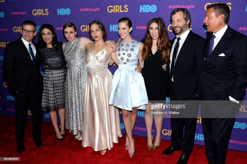 HBO President of Programming Michael Lombardo, Executive Producers Jenni Konner and <a gi-track='captionPersonalityLinkClicked' href=/galleries/search?phrase=Lena+Dunham&family=editorial&specificpeople=5836535 ng-click='$event.stopPropagation()'>Lena Dunham</a>, <a gi-track='captionPersonalityLinkClicked' href=/galleries/search?phrase=Jemima+Kirke&family=editorial&specificpeople=7327464 ng-click='$event.stopPropagation()'>Jemima Kirke</a>, <a gi-track='captionPersonalityLinkClicked' href=/galleries/search?phrase=Allison+Williams+-+Actress&family=editorial&specificpeople=594198 ng-click='$event.stopPropagation()'>Allison Williams</a>, <a gi-track='captionPersonalityLinkClicked' href=/galleries/search?phrase=Zosia+Mamet&family=editorial&specificpeople=7439328 ng-click='$event.stopPropagation()'>Zosia Mamet</a>, Executive Producer <a gi-track='captionPersonalityLinkClicked' href=/galleries/search?phrase=Judd+Apatow&family=editorial&specificpeople=854225 ng-click='$event.stopPropagation()'>Judd Apatow</a>, and HBO CEO <a gi-track='captionPersonalityLinkClicked' href=/galleries/search?phrase=Richard+Plepler&family=editorial&specificpeople=584118 ng-click='$event.stopPropagation()'>Richard Plepler</a> attend the 'Girls' season three premiere at Jazz at Lincoln Center on January 6, 2014 in New York City.