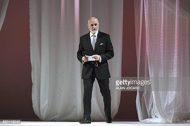 President of PromincorLingerie Francaise Philippe Berthaux speaks during the French Lingerie Show 'Lingerie Mon Amour' by Lingerie Francaise in Paris...