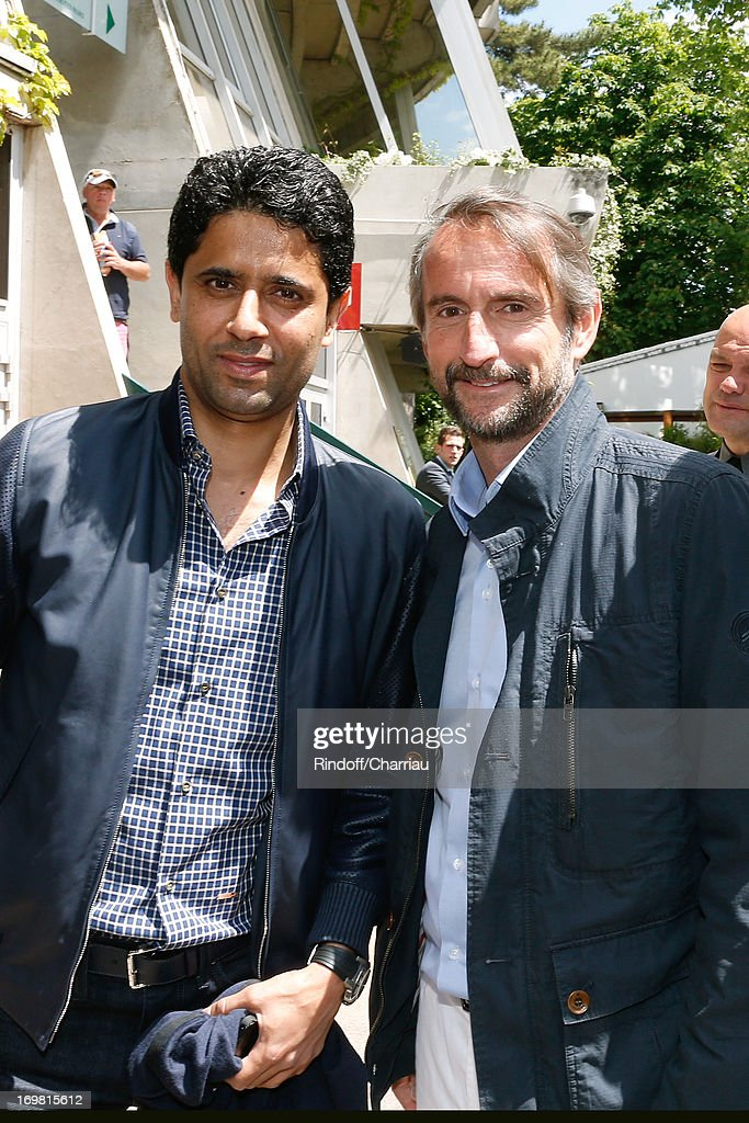 President of PSG football team Nasser Al Khelaifi and Chief Operating Officer of PSG football team Jean-Claude Blanc attend Roland Garros Tennis French Open 2013 - Day 8 on June 2, 2013 in Paris, France.