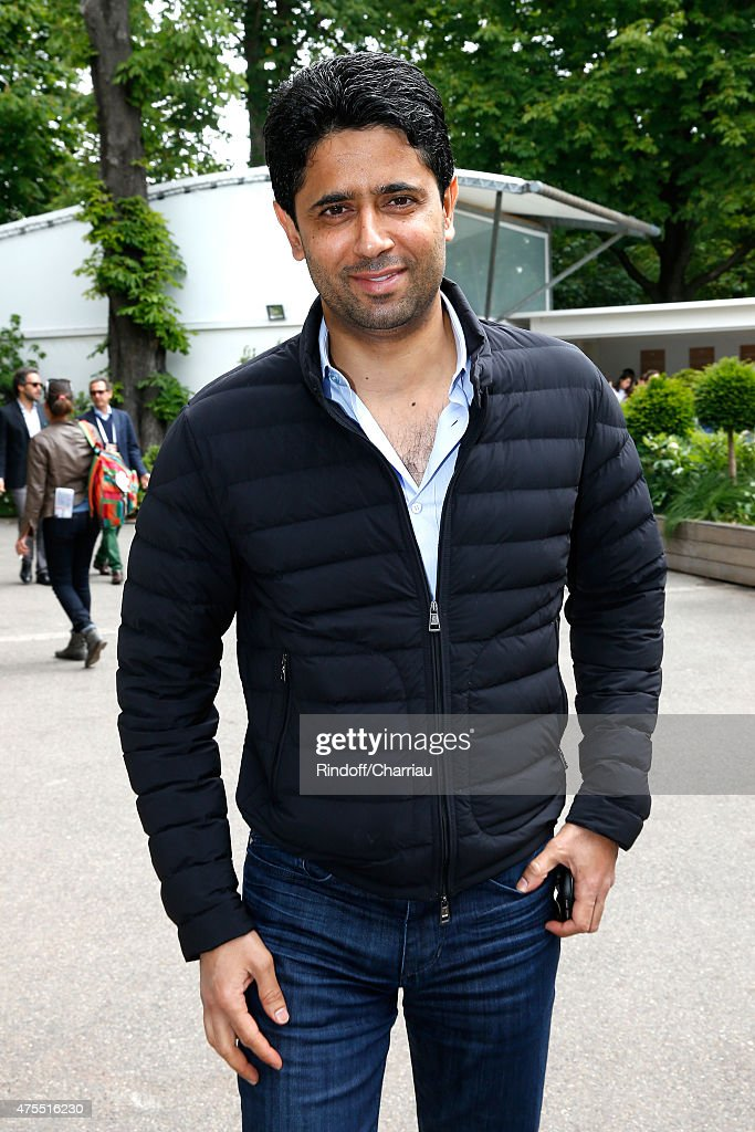 President of PSG football team Nasser Al Khelaifi attends the 2015 Roland Garros French Tennis Open - Day Nine on June 1, 2015 in Paris, France.