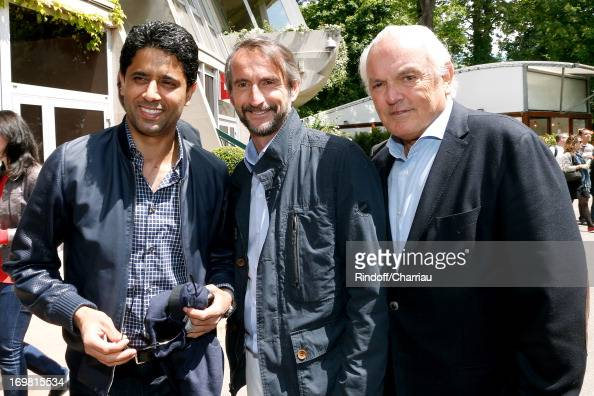President of PSG football team Nasser Al Khelaifi Chief Operating Officer of PSG football team JeanClaude Blanc and Christian Bimes attend Roland...