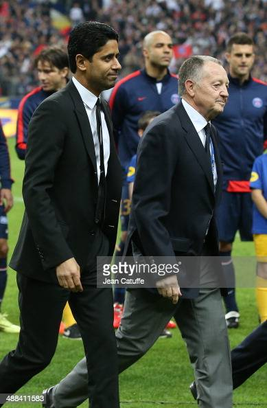 President of PSG Nasser AlKhelaifi and President of Lyon JeanMichel Aulas attend the French League Cup Final between Olympique Lyonnais OL and Paris...