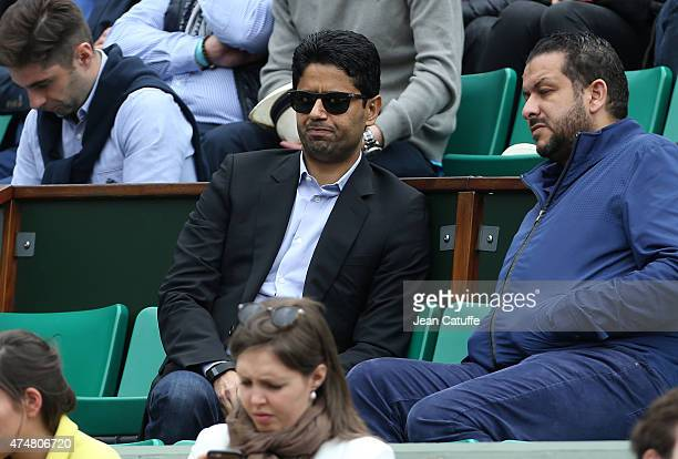 President of PSG Nasser AlKhelaifi attends day 3 of the French Open 2015 at Roland Garros stadium on May 26 2015 in Paris France