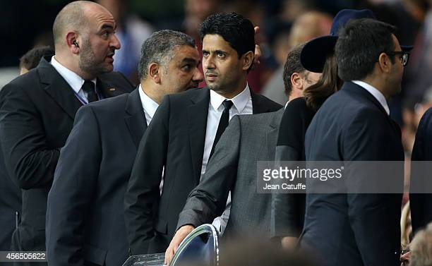 President of PSG Nasser AlKhelaifi attends the UEFA Champions League Group F match between Paris SaintGermain FC and FC Barcelona at the Parc des...
