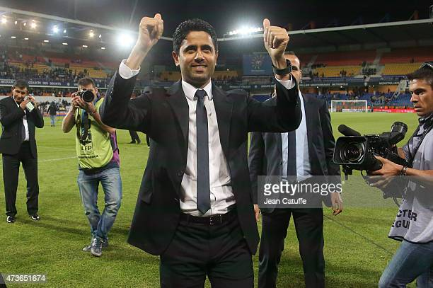 President of PSG Nasser AlKhelaifi celebrates with supporters the victory of PSG in French Ligue 1 Championship after their victory in the French...