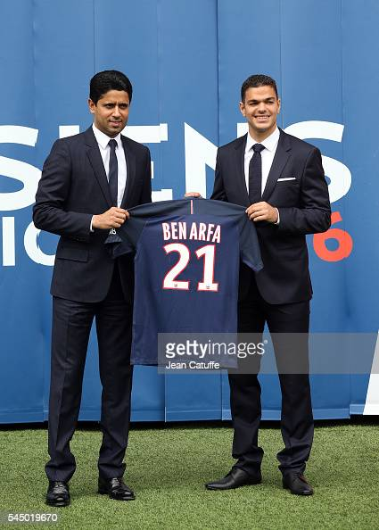 President of PSG Nasser AlKhelaifi introduces Hatem Ben Arfa as a new player of Paris SaintGermain during the jersey presentation at Parc des Princes...