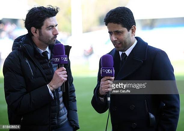 President of PSG Nasser AlKhelaifi is interviewed by Alexandre Ruiz of beIN Sports after winning the French League 1 championships 20151016 following...