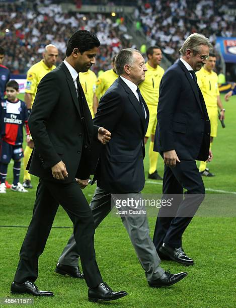 President of PSG Nasser AlKhelaifi President of Lyon JeanMichel Aulas and President of French League Frederic Thiriez attend the French League Cup...